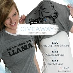 I entered the @veryjane #Giveaway for a chance to win @crazydogtshirts shirts, Amazon cash, or eBay cash!