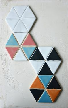 New colourways for ceramic tiles by Hattulan Kaakelitehdas. Love,love love especially white one and pink-white-turquoise.
