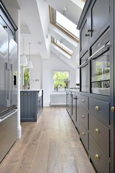 Velux roof windows in a kitchen extension - lovely Shaker Kitchen, Kitchen Units, Open Plan Kitchen, Ikea Kitchen, Kitchen Layout, Country Kitchen, Kitchen Design, Kitchen Ideas, Kitchen Living