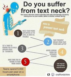 "#Repost @craffordchiro (@get_repost) ""Text neck"" is a modern term created in response to the presentation of neck pain and headaches associated with the increases use of smartphones and hand held devices. Visit us for advice and relief! #chiropractor #chiropracticadjustment #neckpain #textneck #textnecksyndrome #headache #shoulderpain #tension #massage #massagetherapy #accupuncture #dryneedling #treatment #healthylifestyle #healthyspine"