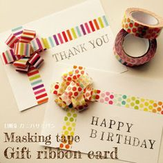 Gift Cars Ideas For Birthdays Masking Tape 39 Ideas Tape Crafts, Fun Crafts, Diy And Crafts, Birthday Gift Cards, Handmade Birthday Cards, Washi Tape Cards, Masking Tape, Ribbon Cards, Gift Ribbon