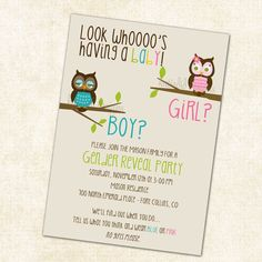 Gender reveal invitation with owls, pink and blue owl baby shower invitation digital, printable file (item 1433).