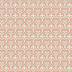 "Mod Damask (Coral) - modern damask design to print on fabric for DIY sewing and crafts. The Textile District prints fabric on demand on the ground fabric you choose. Each image represents 27"" square to show scale of the printed design. #fabrics #textiledistrict"