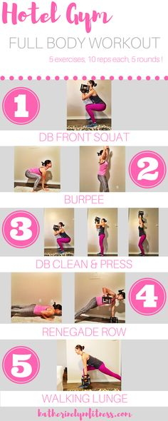 The best full body workout, perfect for traveling and hotel gyms. Five exercises, five rounds, and ten reps per exercise makes it super easy to remember. The exercises all will challenge your full body, without needing to sub out a bunch of different DB weights. That's why this is the exact workout I do every time I hit a hotel gym.