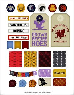 Game of Thrones Planner Stickers by CarpeDiemScrapbook on Etsy