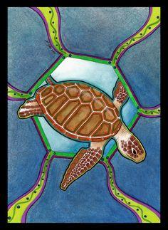 """Spirit Totem Animal:  """"Green Sea Turtle as Totem 02,"""" by Ravenari, at deviantART."""