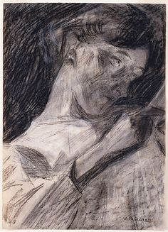 Young Woman Reading (Ines). 1909-1910.Umberto Boccioni (Italian, 1882–1916).Charcoal, watercolor, and wax crayon on paper.The Metropolitan Museum of Art, NYC.