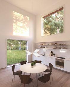 Open-plan kitchen in Sweden.