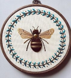 Goldwork & Leather Bee with Floral Wreath by HUMAYRAH POPPINS