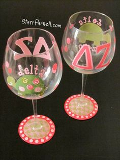 Sorority Spirit Delta Zeta DZ Themed Wine Glass by StarrParnell, $25.00