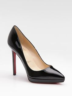 Simple black pumps, perfection. Christian Louboutin Pigalle Plato Patent Leather Platform Pumps #Workflow