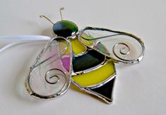 Bee Suncatcher Stained Glass Bee Bumblebee Bumble by GlassByKat, $22.00