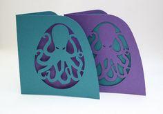 Paper cut Steampunk Octopus Silhouette Greetings Card
