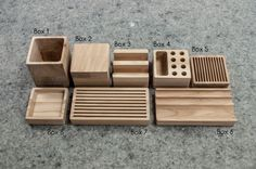 This unique design wooden desk organizer consists of several parts that can be put on a wooden platform. You can select your combination of necessary block-boxes according to your wishes and preferences!  You will have all your small necessary things, credit cards, pens, pencils and phone perfectly organized right where you need them - before your eyes on your desk. Desk organizer can be also personalized according to your wishes, with your selected words, names or logo. You can pick any…