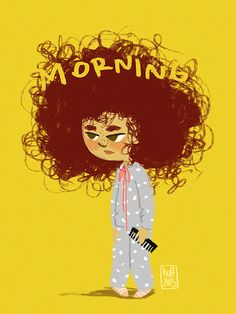 Not just a bad hair day // Personal work Girl Cartoon, Cartoon Art, Funny Cartoon Drawings, Curly Hair Cartoon, Cool Art Drawings, Cute Cartoon Wallpapers, Illustration Girl, Whimsical Art, Anime Art Girl