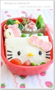 Easy Charaben (Decorative Bento) * Hello Kitty Pocket Sandwich