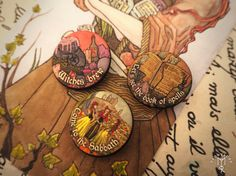 WITCHES SABBATH set of 3 pins buttons badges 1.2inch / 32mm dark fantasy pagan folk goth rock witches pentacle ritual cauldron book of spell