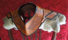 Celtic Wolf Gorget/Pauldron Leather Armor
