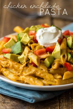 Chicken Enchilada Pasta Recipe ~ A delicious pasta dish that is a meal in one and tastes like an enchilada!