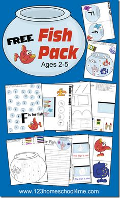 FREE Fish Preschool Printable Pack FREE Fish Pack - Early Learning for toddler, preschool, and Free Preschool, Preschool Curriculum, Preschool Printables, Preschool Lessons, Preschool Worksheets, Toddler Preschool, Preschool Activities, Homeschooling, Preschool Projects