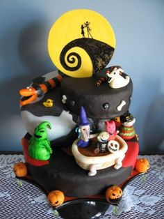 Nightmare Before Christmas Theme Nightmare Before Christmas Theme Choc. chip cake with choc filling and icing. Fondant covered. Figures made from homemade Marzipan then... #jack-skellington #nightmare-before-christmas-jack-skellington #nightmarebeforechristmas #cakecentral