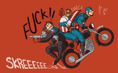 ALL CAPS!! Steve has maybe seen The Great Escape a few too many times. Sam and Bucky are not pleased. (Buck's arm is inspired by this freaking incredible reinterpretation of his 616 Captain America suit to fit the MCU aesthetic!) EDIT: I made some...