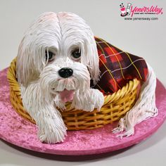 3D Puppy Dog in a Basket Cake by Yeners Way - Cake Art Tutorials
