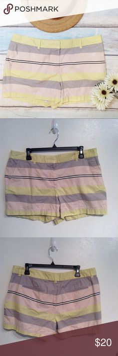 """Ann Taylor LOFT Pastel Striped Shorts Ann Taylor LOFT striped shorts with pastel pink, yellow, grey, white and black stripes. Fun pop of color for spring and summer. Size 12. Measures 18"""" flat across waist, 10"""" front rise, and just under 4"""" inseam. No modeling. Smoke free home. I do discount bundles. LOFT Shorts"""