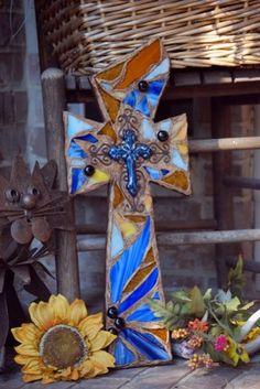 Mosaic  Crosses   Wall Crosses by Lori