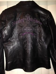 Harley Davidson Jacket (Women's Pre-owned Black Leather Purple Embroidery Motorcycle Biker Coat)
