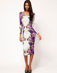 Enlarge ASOS Midi Body-Conscious Dress With Rose Placement Print