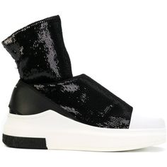 Cinzia Araia sequined sock sneakers (930 BGN) ❤ liked on Polyvore featuring shoes, sneakers, black, sequin shoes, leather trainers, sequin sneakers, leather footwear and black leather shoes