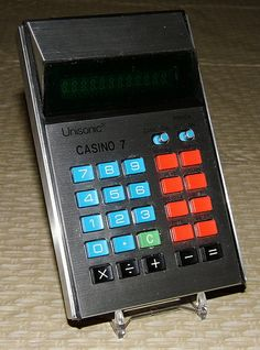 Vintage Unisonic Casino 7 Electronic Pocket Calculator, Made in Taiwan, Circa 1976.