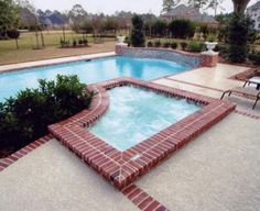 Red Brick border on a Paver pool deck. JR Pavers. Tampa, FL
