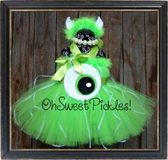 Deluxe - MIKE Wazowski MONSTERS INC Inspired - Halloween Costume Tutu Dress & Headband - Sizes 0, 3, 6, 9, 12, 18, 24 Months, 2t, 3t, 4t, 5t