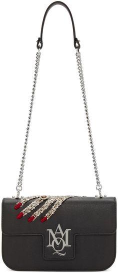 ALEXANDER MCQUEEN Black Jeweled Hand Insignia Satchel.  alexandermcqueen   bags  lining  satchel 7accaea13de0c