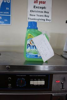 We left laundry detergent and coins at the laundromat.