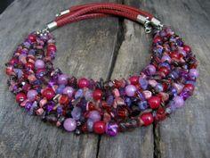 Purple statement necklace Multi strand violet necklace