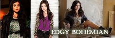 Aria Montgomery has the most identifiable style out of these Pretty Little Liars. Her dark, bohemian look is distinctly individual from her posse. Aria wears darker colors and patterns and always layers her outfits.  This bohemian style relies on her chunky accessories, dark jackets, and black heels.