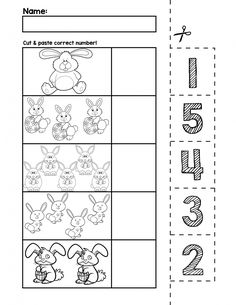 Teach counting skills with Easter Bunnies! Great for teaching 1:1 counting skills and number recognition for numbers 1-5. No prep and great for math centers! #preschool #preschoolers #preschoolactivities #kindergarten #Homeschooling #mathcenters #easter #easterbunny
