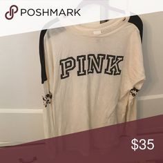 PINK cream shirt with leopard and black size s PINK cream shirt with leapord and black size s worn once PINK Victoria's Secret Tops Tees - Long Sleeve