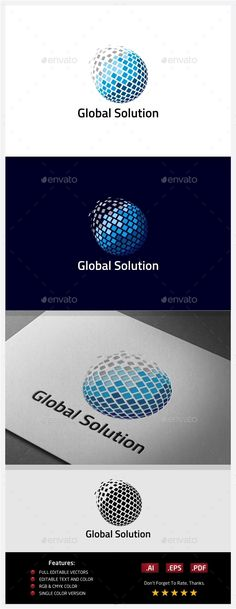 Global Solution Logo — Vector EPS #digital #globe • Available here → https://graphicriver.net/item/global-solution-logo/10406525?ref=pxcr
