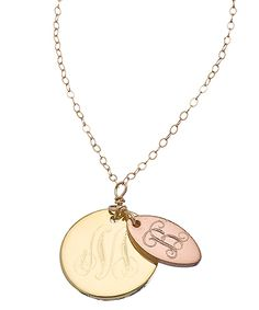 Robyn Rhodes Gold and Rose Gold Double Large and Small Initial Pendant Necklace