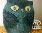 Felted Owl Teacozy - duck egg and blue - teapot cosy soft