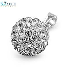 10 mm 925 Sterling Silver White Crystal Ball Disco Ball Shamballa Ball Pendant For Necklace Girlfriend Mothers Gift