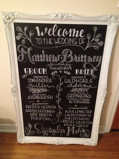 romantic alternative to wedding programs  | Program Board, Programs Display, Wedding Programs, Chalkboard Wedding ...