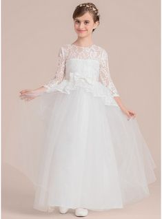 Ball Gown Floor-length Flower Girl Dress - Satin/Tulle/Lace 3/4 Sleeves Scoop Neck With Beading/Bow(s) (010136587)