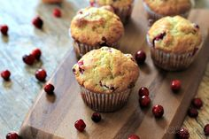 Cranberry Orange Muffins - replaced 1 C flour with almond meal and used 2 eggs. Fantastic!