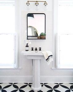 Bathrooms pedestal sink, iron mirror with shelf, light walls Save Money While You Survive the Heat S Serene Bathroom, Beautiful Bathrooms, Modern Bathroom, Bathroom Ideas, White Bathrooms, Vanity Bathroom, Vanity Mirrors, Bathroom Designs, Pedastal Sink Bathroom