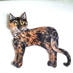 Tortoiseshell Cat Wall Art Movable Laminated Paper Art Kittycat Studio  Laura Anglemoyer